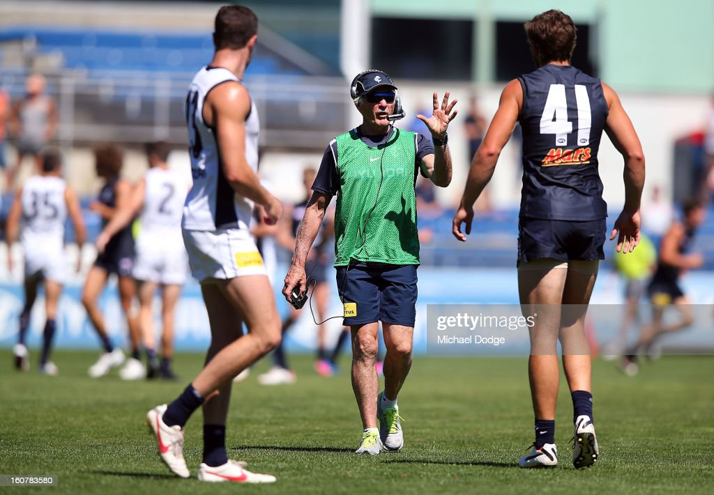 Coach <a gi-track='captionPersonalityLinkClicked' href=/galleries/search?phrase=Michael+Malthouse&family=editorial&specificpeople=217321 ng-click='$event.stopPropagation()'>Michael Malthouse</a> coaches Levi Casboult while on the field of play during a Carlton Blues AFL Intra-Club match at Visy Park on February 6, 2013 in Melbourne, Australia.
