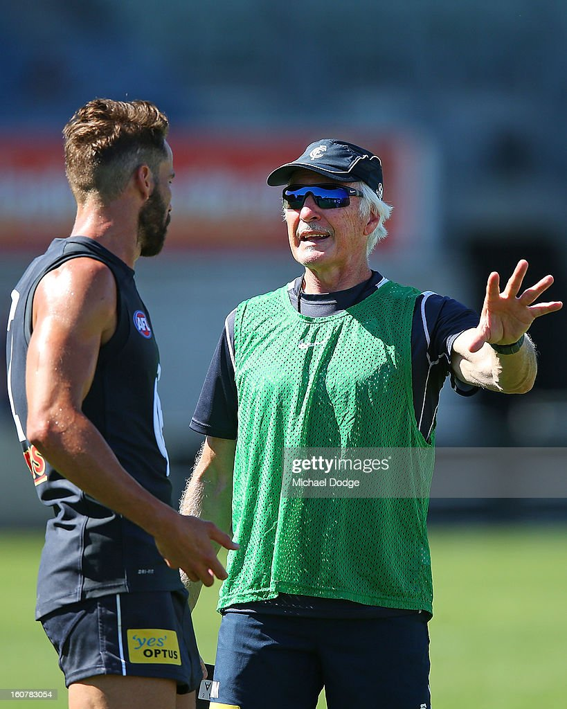 Coach <a gi-track='captionPersonalityLinkClicked' href=/galleries/search?phrase=Michael+Malthouse&family=editorial&specificpeople=217321 ng-click='$event.stopPropagation()'>Michael Malthouse</a> talks to Andrew Walker during a Carlton Blues AFL Intra-Club match at Visy Park on February 6, 2013 in Melbourne, Australia.