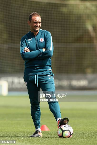 Coach Michael Valkanis looks on during a Melbourne City FC training session at City Football Academy on March 3 2017 in Melbourne Australia