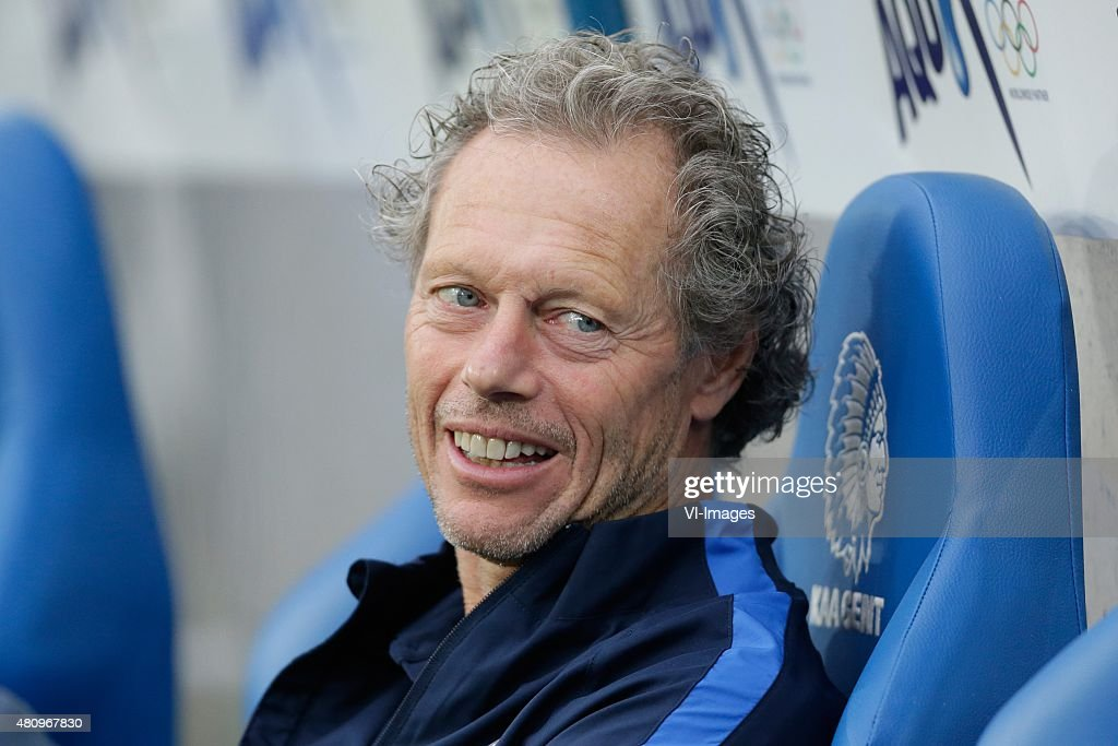 coach Michel Preudhomme of Club Brugge during the Belgium Supercup match between Club Brugge and AA Gent on July 16, 2015 at the Ghelamco Arena in Gent, Belgium.