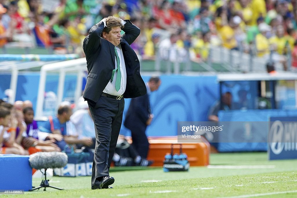 coach <a gi-track='captionPersonalityLinkClicked' href=/galleries/search?phrase=Miguel+Herrera+-+Soccer+Coach&family=editorial&specificpeople=12319687 ng-click='$event.stopPropagation()'>Miguel Herrera</a> of Mexico during the 1/8 final match between The Netherlands and Mexico on June 29, 2014 at Estadio Castelao in Fortaleza, Brazil.