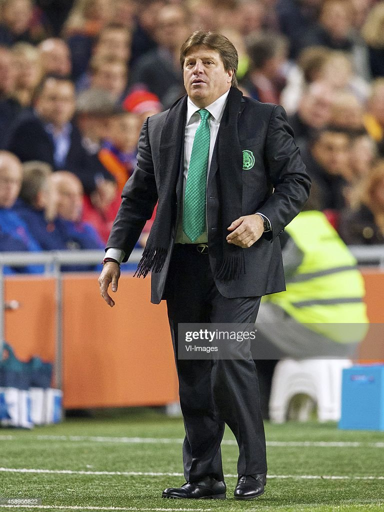 coach <a gi-track='captionPersonalityLinkClicked' href=/galleries/search?phrase=Miguel+Herrera+-+Soccer+Coach&family=editorial&specificpeople=12319687 ng-click='$event.stopPropagation()'>Miguel Herrera</a> of Mexico during the International friendly match between Netherlands and Mexico on November 12, 2014 at the Amsterdam Arena in Amsterdam, The Netherlands.