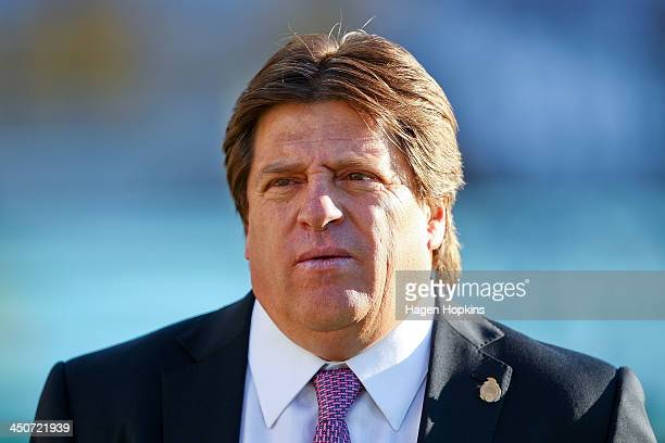 Coach Miguel Herrera of Mexico looks on during leg 2 of the FIFA World Cup Qualifier match between the New Zealand All Whites and Mexico at Westpac...