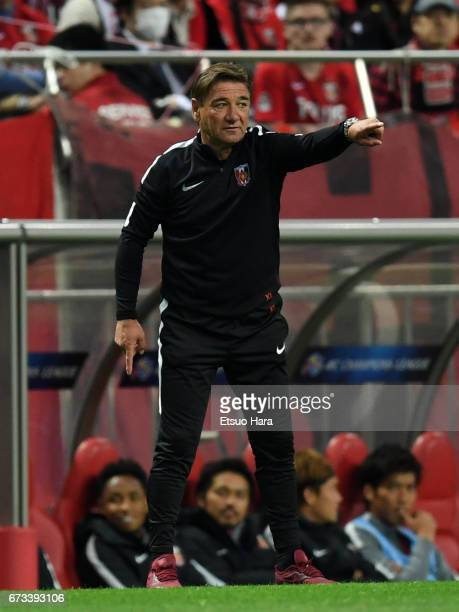 Coach Mihailo Petrovic of Urawa Red Diamonds gestures during the AFC Champions League Group F match between Urawa Red Diamonds and Western Sydney at...