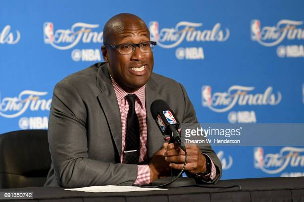 Coach Mike Brown of the Golden State Warriors talks to the media after the 11391 win against the Cleveland Cavalier in Game 1 of the 2017 NBA Finals...