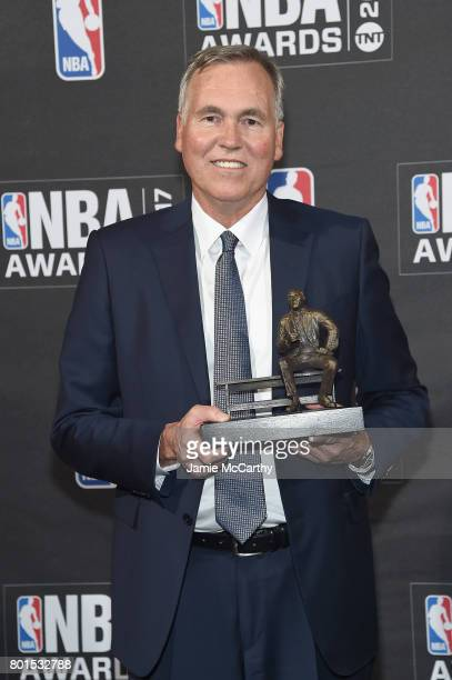 Coach Mike D'Antoni poses with the NBA Coach of the Year award at the 2017 NBA Awards live on TNT on June 26 2017 in New York New York 27111_003