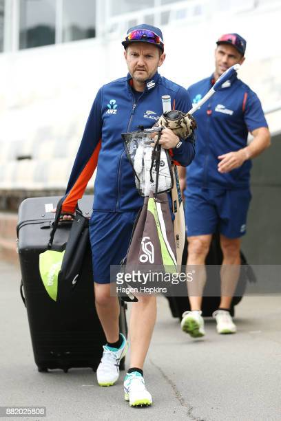 Coach Mike Hesson and strength and conditioning coach Chris Donaldson arrive during a New Zealand Blackcaps training session at Basin Reserve on...