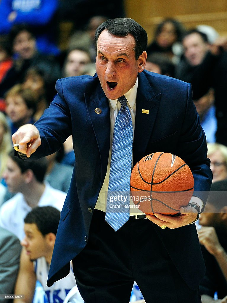 Coach Mike Krzyzewski of the Duke Blue Devils argues with officials after his team was called for a foul against the Wake Forest Demon Deacons during play at Cameron Indoor Stadium on January 5, 2013 in Durham, North Carolina.