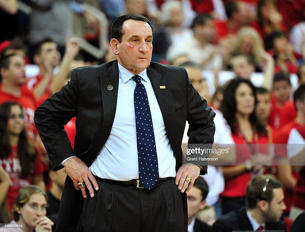 Coach Mike Krzyzewski of the Duke Blue Devils watches his team during a loss to the North Carolina State Wolfpack at PNC Arena on January 12, 2013 in Raleigh, North Carolina.