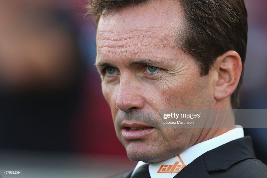 Coach Mike Mulvey of the Roar looks on during the round 18 ALeague match between the Western Sydney Wanderers and Brisbane Roar at Pirtek Stadium on...