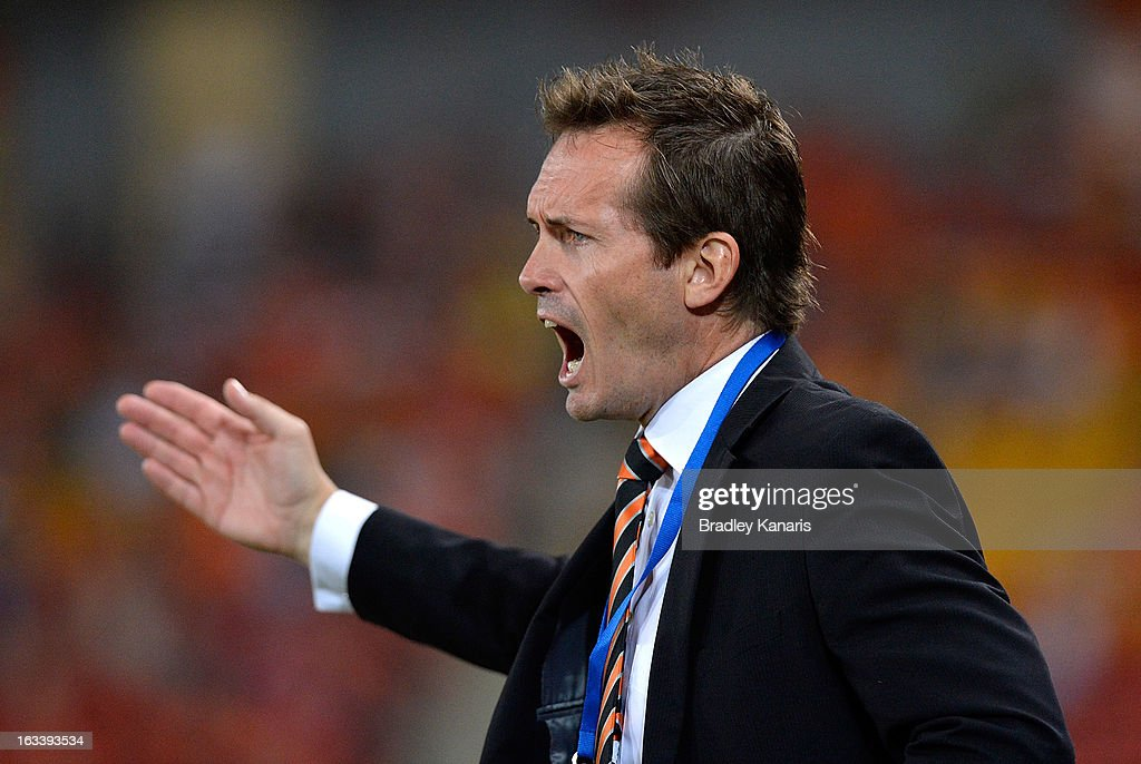 Coach Mike Mulvey of the Roar screams to the referee for a decision after a challenge on one of his players during the round 24 A-League match between the Brisbane Roar and the Melbourne Victory at Suncorp Stadium on March 9, 2013 in Brisbane, Australia.