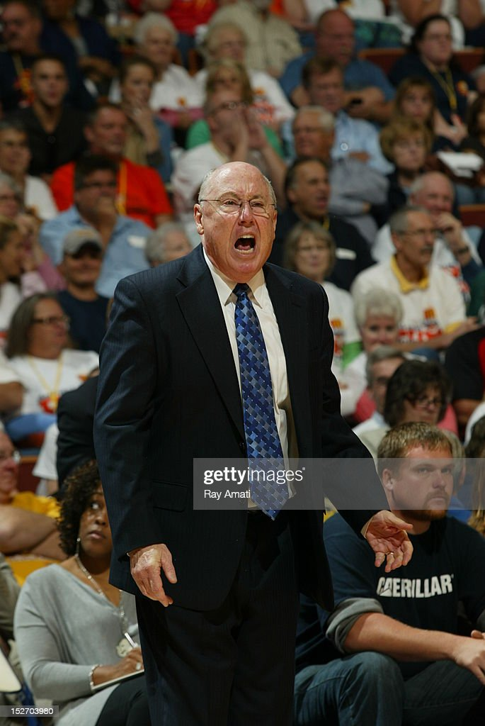 Coach <a gi-track='captionPersonalityLinkClicked' href=/galleries/search?phrase=Mike+Thibault&family=editorial&specificpeople=544624 ng-click='$event.stopPropagation()'>Mike Thibault</a> of the Connecticut Sun reacts to a call during the game against the Atlanta Dream on September 23, 2012 at the Mohegan Sun Arena in Uncasville CT.