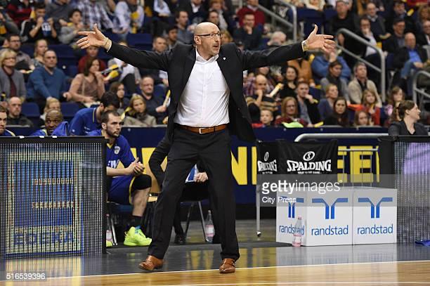 coach Mladen Drijencic of the EWE Baskets Oldenburg during Beko BBL game between Alba Berlin and EWE Baskets Oldenburg on march 19 2016 in Berlin...