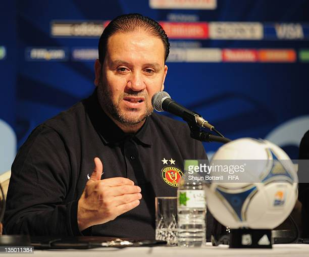 Coach Nabil Maaloul talks to the media during an Esperance Sportive de Tunis Press Conference at the Westin Nagoya Castle Hotel on December 6 2011 in...