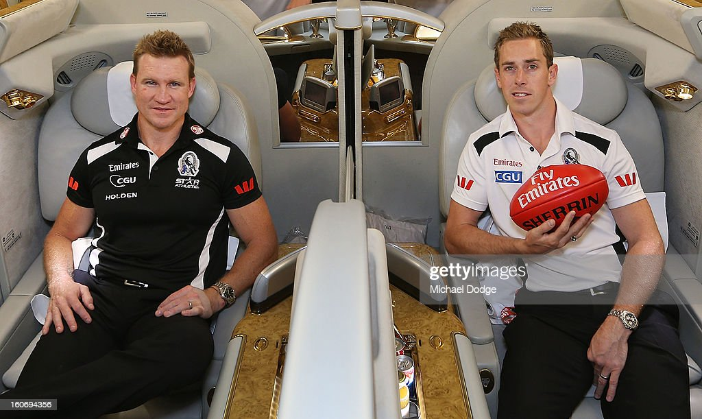 Coach <a gi-track='captionPersonalityLinkClicked' href=/galleries/search?phrase=Nathan+Buckley&family=editorial&specificpeople=176545 ng-click='$event.stopPropagation()'>Nathan Buckley</a> and captain <a gi-track='captionPersonalityLinkClicked' href=/galleries/search?phrase=Nick+Maxwell&family=editorial&specificpeople=596853 ng-click='$event.stopPropagation()'>Nick Maxwell</a> sit in the cabin of an Emirates A380 aircraft after the Collingwood Magpies 2013 Captaincy And Leadership Group Announcement at Melbourne Airport on February 5, 2013 in Melbourne, Australia.