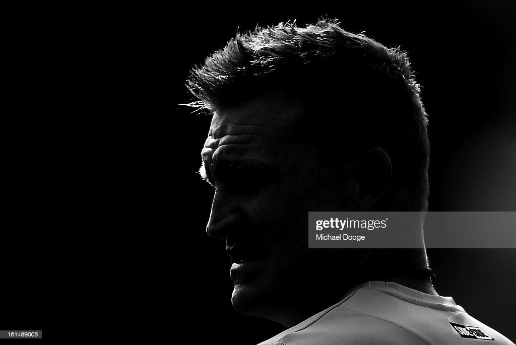 Coach <a gi-track='captionPersonalityLinkClicked' href=/galleries/search?phrase=Nathan+Buckley&family=editorial&specificpeople=176545 ng-click='$event.stopPropagation()'>Nathan Buckley</a> looks ahead during a Collingwood Magpies AFL session at Westpac Centre on February 12, 2013 in Melbourne, Australia.