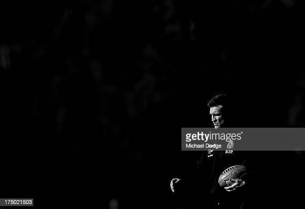 Coach Nathan Buckley looks ahead during a Collingwood Magpies AFL training session at Olympic Park on July 30 2013 in Melbourne Australia