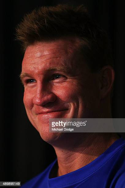 Coach Nathan Buckley reacts during a Collingwood Magpies AFL media session at Olympic Park on May 13 2014 in Melbourne Australia
