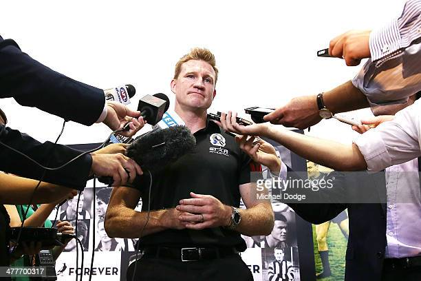 Coach Nathan Buckley speaks to the media during the Collingwood Magpies AFL season launch at the Westpac Centre on March 11 2014 in Melbourne...