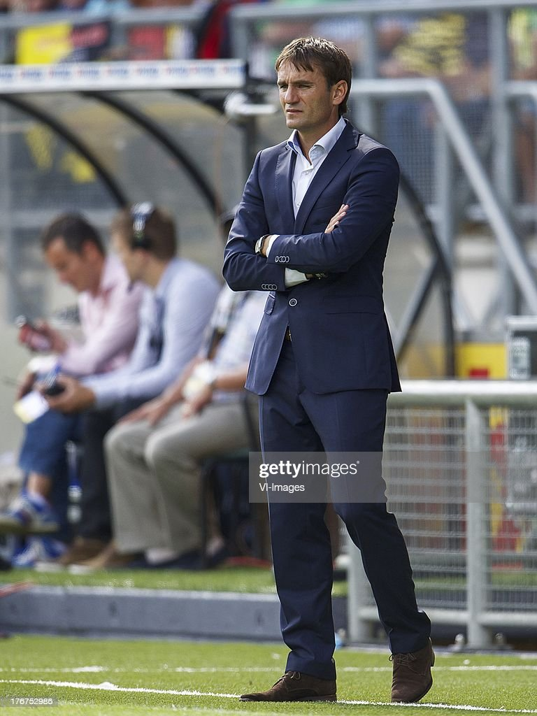 coach Nebojsa Gudelj of NAC Breda during the Dutch Eredivisie match between NAC Breda and ADO Den Haag on August 18, 2013 at the Rat Verlegh stadium in Breda, The Netherlands.