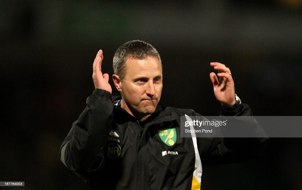 Coach Neil Adams of Norwich City celebrates victory after the FA Youth Cup Final First Leg match between Norwich City and Chelsea at Carrow Road on April 29, 2013 in Norwich, England.