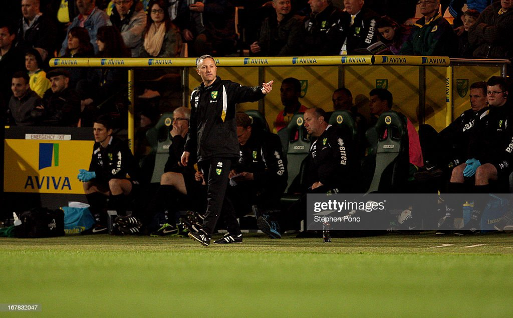 Coach Neil Adams of Norwich City on the touchline during the FA Youth Cup Final First Leg match between Norwich City and Chelsea at Carrow Road on April 29, 2013 in Norwich, England.