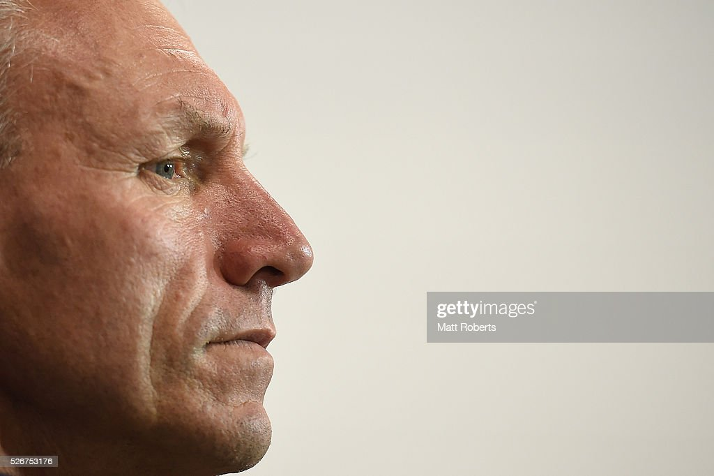 Coach Neil Henry of the Titans looks on during a press conference after the round nine NRL match between the Gold Coast Titans and the Melbourne Storm on May 1, 2016 in Gold Coast, Australia.
