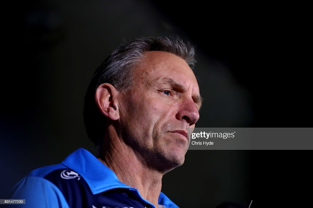 Coach Neil Henry speaks to the media during a Gold Coast Titans NRL press conference at Titans Headquarters on August 15, 2017 in Gold Coast, Australia.