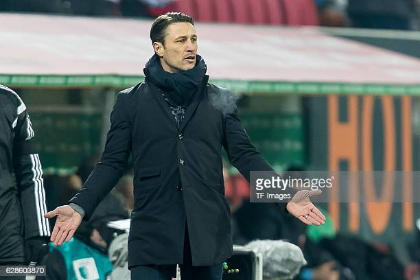 coach Niko Kovac of Frankfurt gestures during the Bundesliga match between FC Augsburg and Eintracht Frankfurt at WWK Arena on December 4 2016 in...