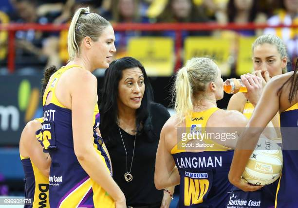 Coach Noeline Taurura of the Sunshine Coast Lightning speaks to her team during a quarter time break during the Super Netball Grand Final match...