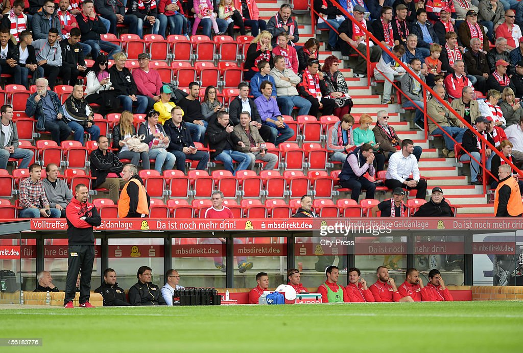 Coach Norbert Duewel of 1 FC Union Berlin looks on during the game between 1 FC Union Berlin and SV Darmstadt 98 on september 27 2014 in Berlin...