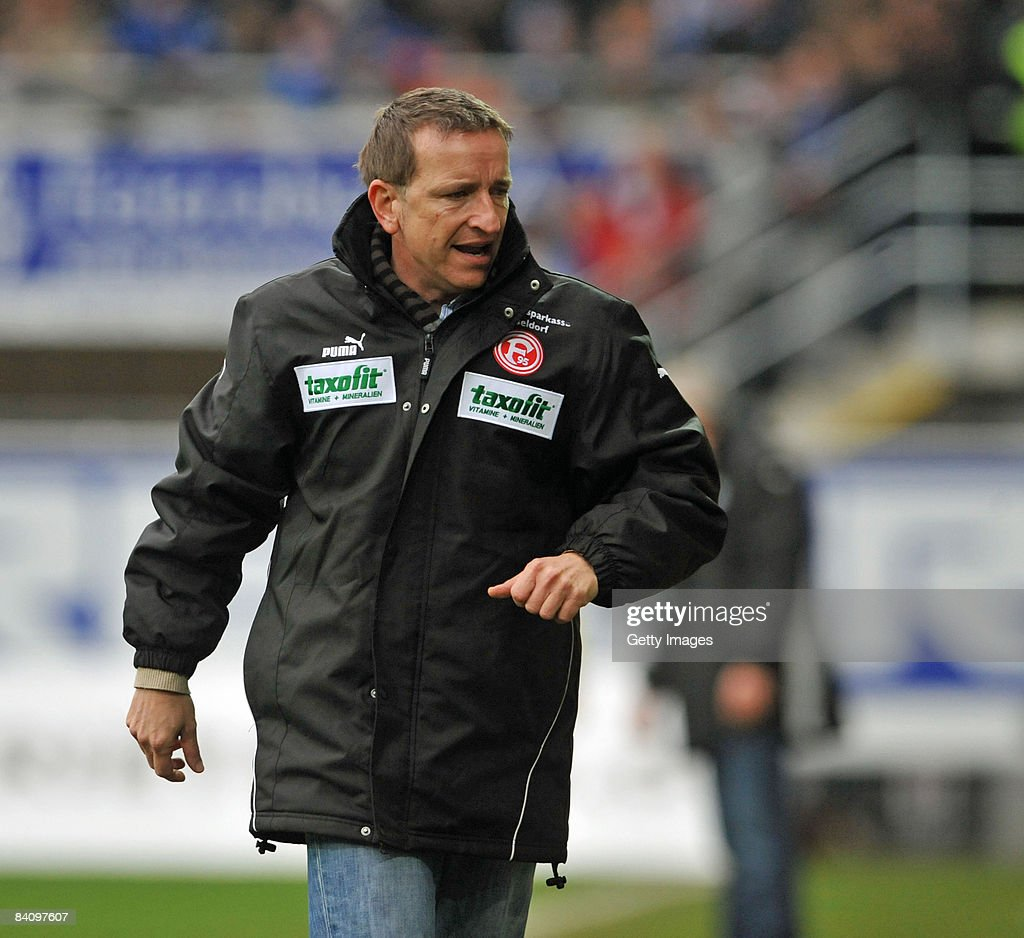 Coach Norbert Meier of Duesseldorf during the 3 Liga match between SC Paderborn and Fortuna Duesseldorf at the Paragon Arena on December 20 2008 in...