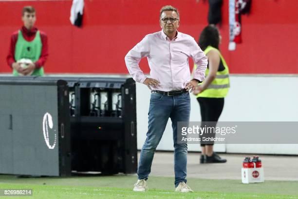 Coach Norbert Meier of Kaiserslautern during the Second Bundesliga match between 1 FC Kaiserslautern and SV Darmstadt 98 at FritzWalterStadion on...