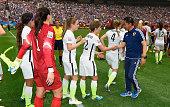 Coach Norio Sasaki of Japan congratulates the American team at the end of the FIFA Women's World Cup 2015 Final between USA and Japan at BC Place...