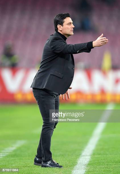 Coach of AC Milan Vincenzo Montella gestures during the Serie A match between SSC Napoli and AC Milan at Stadio San Paolo on November 18 2017 in...