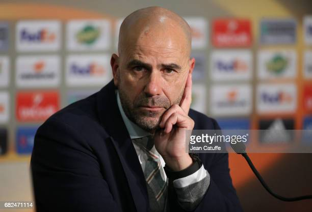 Coach of Ajax Amsterdam Peter Bosz answers to the media following the UEFA Europa League semi final second leg match between Olympique Lyonnais and...