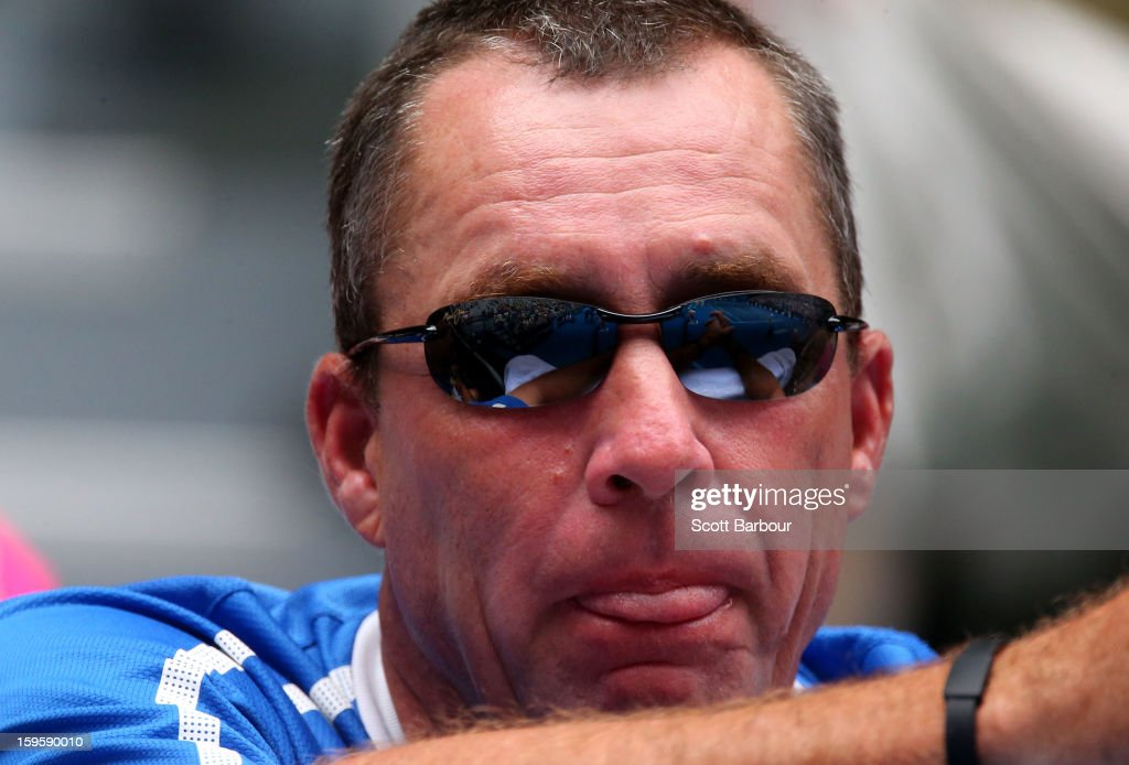 Coach of Andy Murray of Great Britain, Ivan Lendl looks on in the second round match between Murray and Joao Sousa of Portugal during day four of the 2013 Australian Open at Melbourne Park on January 17, 2013 in Melbourne, Australia.