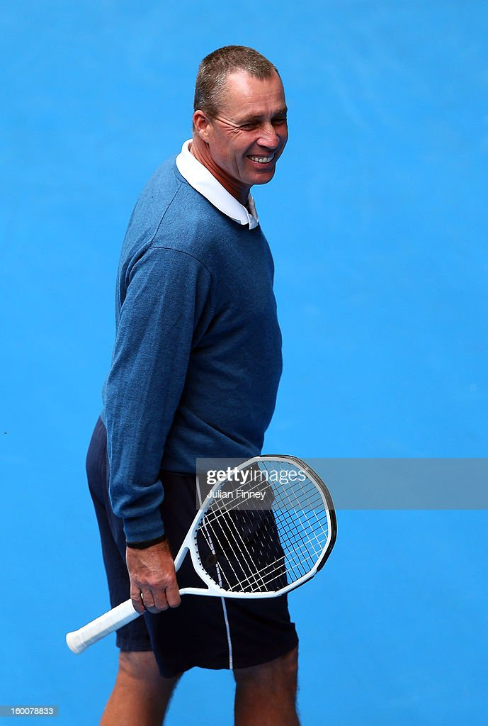 Coach of Andy Murray of Great Britain, Ivan Lendl, smiles as Murray takes part in a practice session during day thirteen of the 2013 Australian Open at Melbourne Park on January 26, 2013 in Melbourne, Australia.