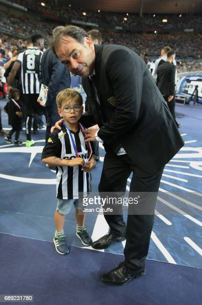 Coach of Angers Stephane Moulin and his son Louison Moulin following the French Cup final between Paris SaintGermain and SCO Angers at Stade de...