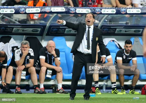 Coach of Angers Stephane Moulin during the French Cup final between Paris SaintGermain and SCO Angers at Stade de France on May 27 2017 in SaintDenis...