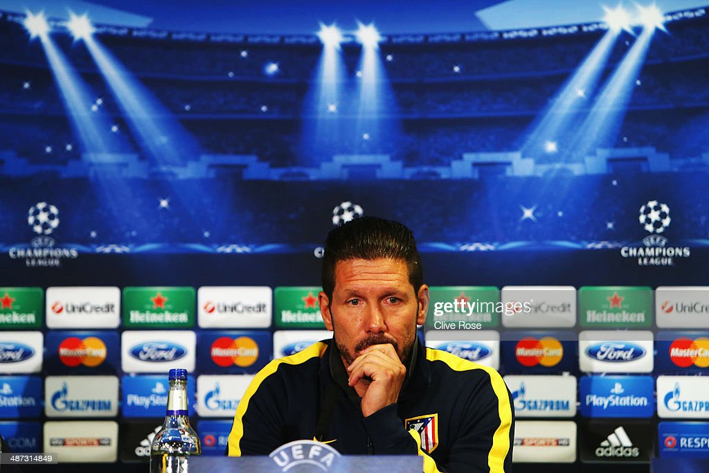 Coach of Atletico Madrid <a gi-track='captionPersonalityLinkClicked' href=/galleries/search?phrase=Diego+Simeone&family=editorial&specificpeople=226872 ng-click='$event.stopPropagation()'>Diego Simeone</a> talks at the Atletico Madrid press conference at Stamford Bridge on April 29, 2014 in London, England.