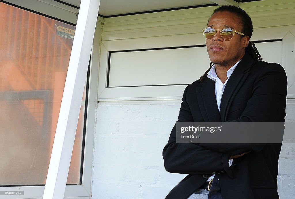 Coach of Barnet <a gi-track='captionPersonalityLinkClicked' href=/galleries/search?phrase=Edgar+Davids&family=editorial&specificpeople=213130 ng-click='$event.stopPropagation()'>Edgar Davids</a> looks on prior to the npower League Two match between Barnet and Plymouth Argyle at Underhill Stadium on October 13, 2012 in Barnet, England.
