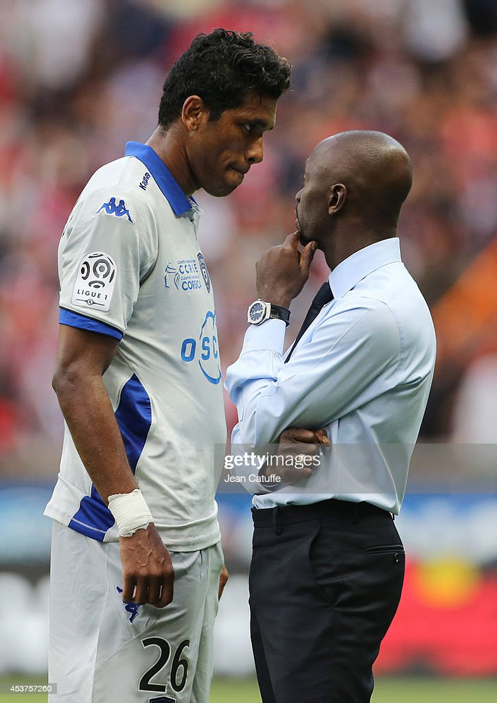 Coach of Bastia <a gi-track='captionPersonalityLinkClicked' href=/galleries/search?phrase=Claude+Makelele&family=editorial&specificpeople=210593 ng-click='$event.stopPropagation()'>Claude Makelele</a> (R) speaks to his player Brandao of Bastia during the French Ligue 1 match between Paris Saint Germain FC and SC Bastia at Parc des Princes stadium on August 16, 2014 in Paris, France.