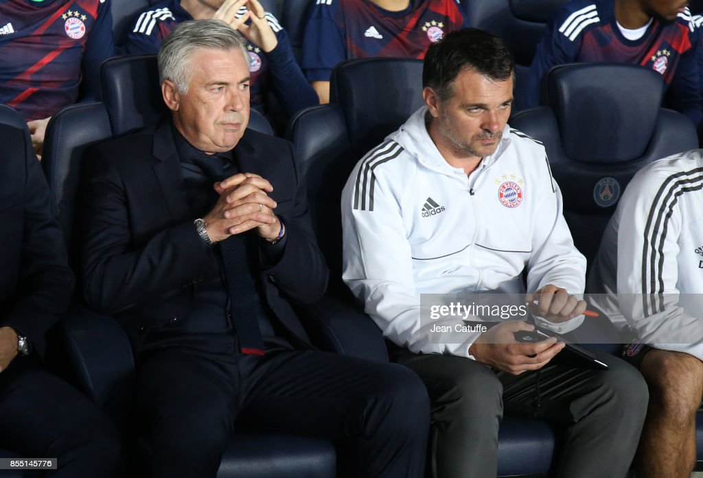 Coach of Bayern Munich Carlo Ancelotti and assistant coach Willy Sagnol during the UEFA Champions League group B match between Paris Saint-Germain (PSG) and Bayern Muenchen (Bayern Munich) at Parc des Princes on September 27, 2017 in Paris, France.