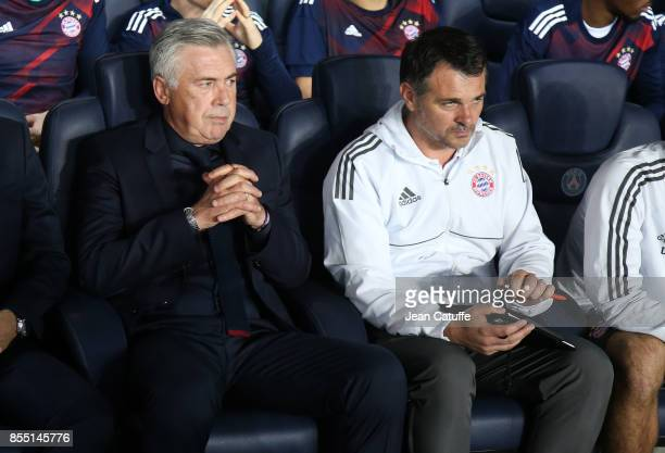 Coach of Bayern Munich Carlo Ancelotti and assistant coach Willy Sagnol during the UEFA Champions League group B match between Paris SaintGermain and...