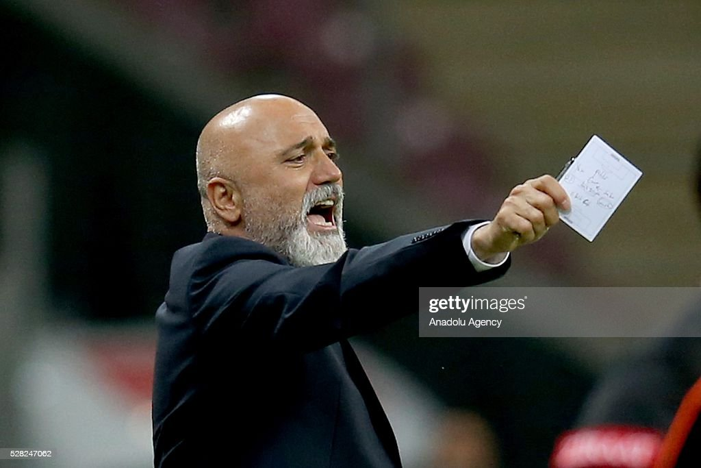 Coach of Caykur Rizespor Hikmet Karaman is seen during the during Ziraat Turkish Cup Semi Final second leg football match between Galatasaray and Caykur Rize Spor at Turk Telekom Arena in Istanbul, Turkey on May 4, 2016.