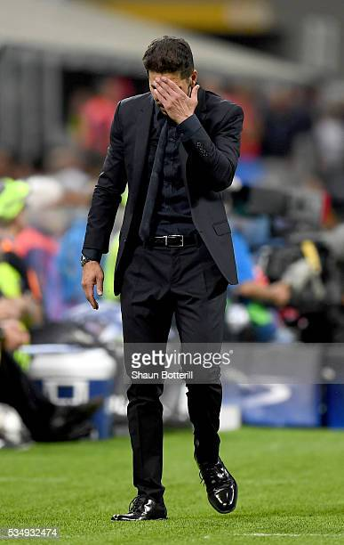 Coach of Club Atletico de Madrid Diego Simeone looks dejected during the UEFA Champions League Final match between Real Madrid and Club Atletico de...