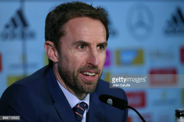 Coach of England Gareth Southgate answers to the media following the international friendly match between Germany and England at Signal Iduna Park on...