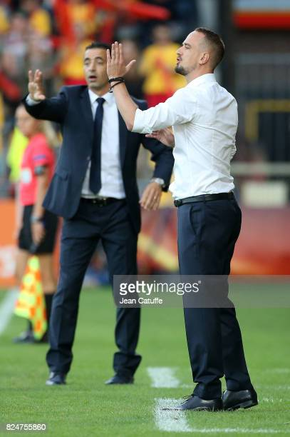 Coach of England Mark Sampson and coach of France Olivier Echouafni during the UEFA Women's Euro 2017 quarter final match between England and France...