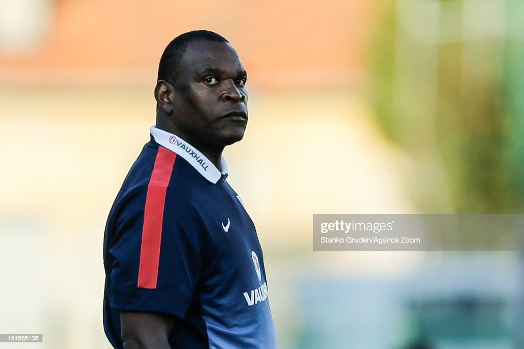 Coach of England Noel Blake during the UEFA U19 Championships Qualifier between England and Switzerland, on October 15, 2013 in Ptuj, Slovenia.